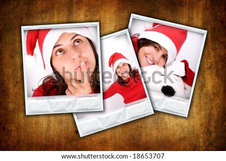 set of three photo frames with christmas images over grunge background - stock photo