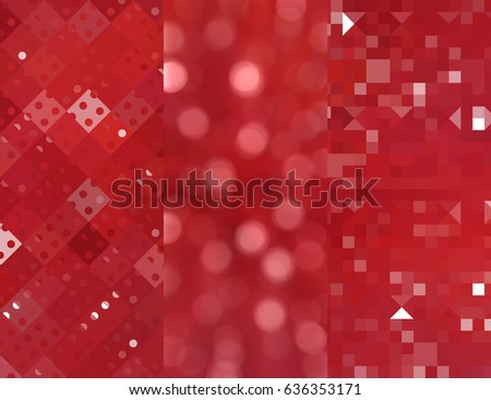 Set of three red backgrounds and illustrations with abstract picture