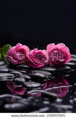 Set of three rose and therapy stones  - stock photo