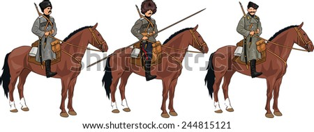 Set of Three Russian Cossacks from 20th Century on the Horses Isolated on White Background - stock photo