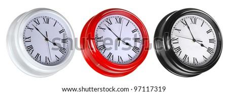 Set of three street clocks isolated on white - stock photo