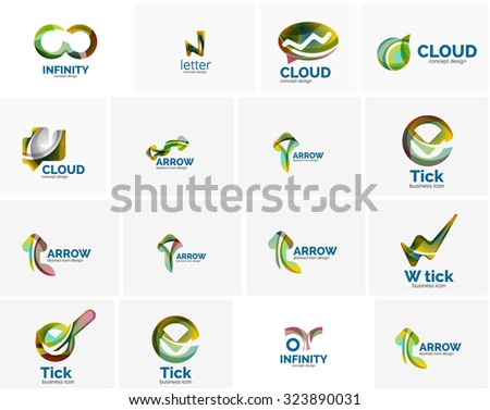 Set of tick ok, cloud or arrow concept icons. Created with swirls and flowing wavy elements. Business, app, web design logo template