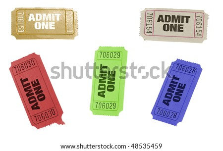 set of ticket admit one different colors isolated on white - stock photo