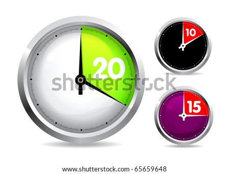 Set of timers isolated on white backgrounds - stock photo