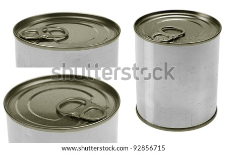 set of tin food can close-ups. Isolated on white background