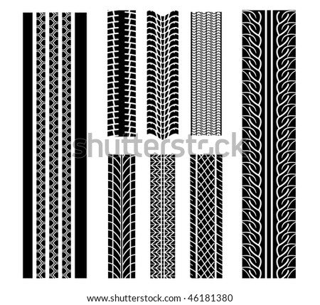 Set of tire patterns for design isolated on white. Vector version is also available - stock photo