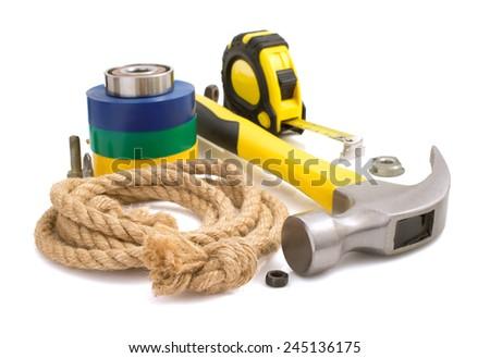 set of tool isolated on white background - stock photo