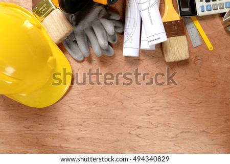 Set of tools a wood panel with blank space for Your text or image