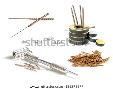 Set of tools and accessories for acupuncture. - stock photo