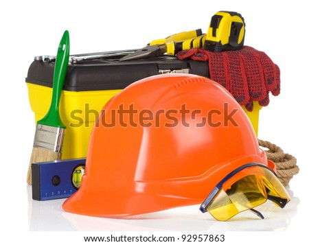 set of tools and instruments on box isolated on white background - stock photo