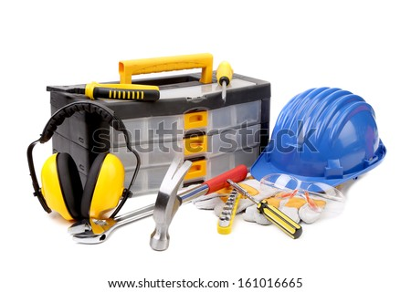 Set of tools and instruments with toolbox. Isolated on a white background. - stock photo
