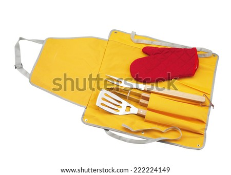 Set of tools for bbq in black bag. Isolated on a white backgropund - stock photo