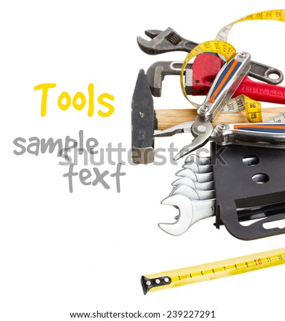 set of tools for repair  isolated on white - stock photo