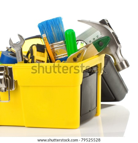 set of tools in black toolbox isolated on white background - stock photo