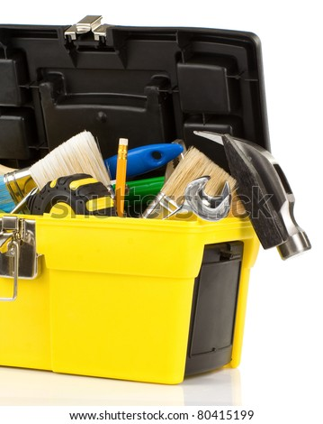 set of tools in box isolated on white background - stock photo
