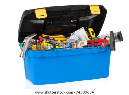 set of tools in construction toolbox isolated on white background - stock photo