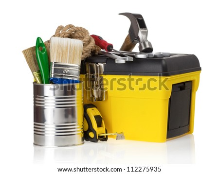 set of tools in toolbox isolated at white background - stock photo