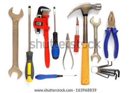 Set of tools isolated on white background.