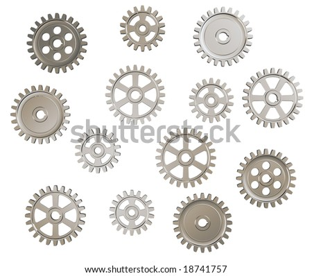 Set of toothed gears on white background - stock photo