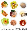 Set of Top view of group plates with food over white background - stock photo