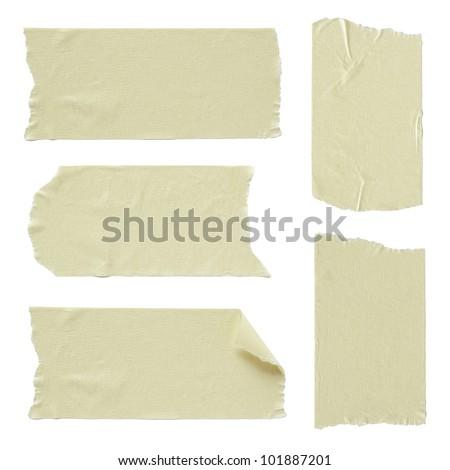 Set of torn masking tape isolated on white - stock photo