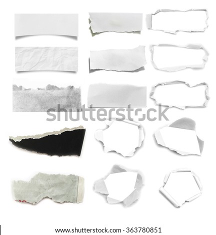 Set of Torn paper, isolated on white background. - stock photo