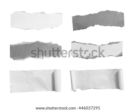 Set of Torn paper, isolated on white background with clipping path. - stock photo