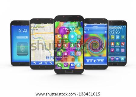 Set of touchscreen smartphones - stock photo