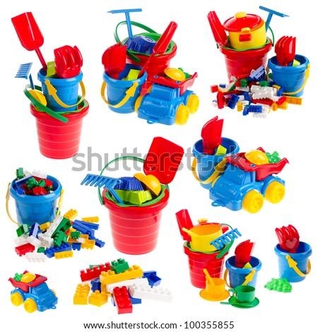 Set of toys on isolated white background - stock photo