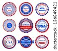 Set of trade labels and stickers on Made in the USA, in blue and red colors. Raster version. - stock vector