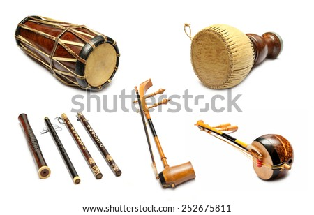 Set of Traditional Thai musical instruments - stock photo