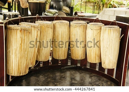 Set of Traditional Thai musical instruments, Drum set - stock photo