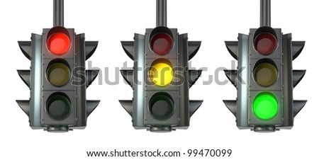 Set of traffic lights, red, green and yellow, isolated on white background - stock photo