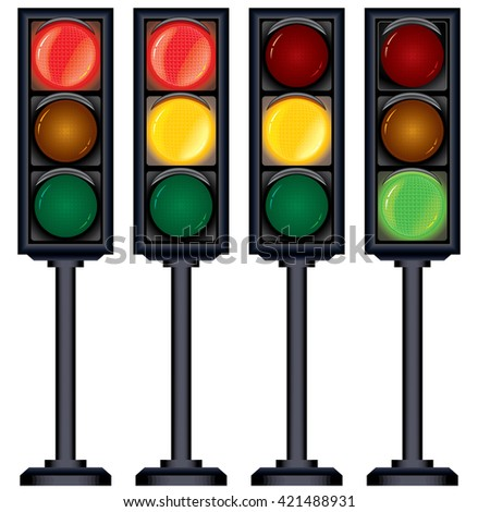 Set of Traffic Lights Variation. Isolated on White Illustration