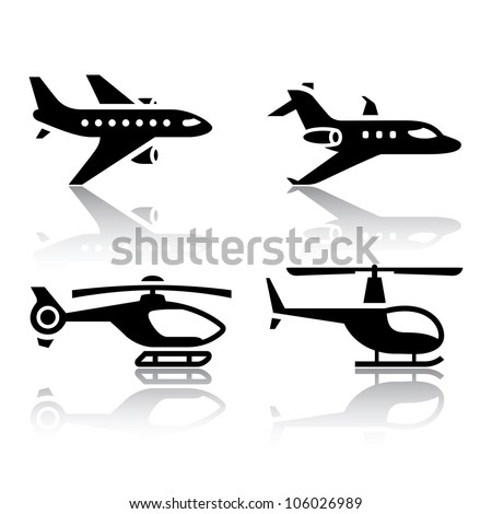 Set of transport icons - airbus and helicopter. Eps version also available in my image gallery - stock photo