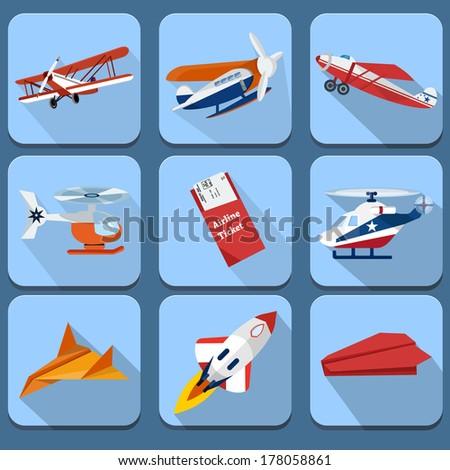 Set of transport icons - airplane - stock photo