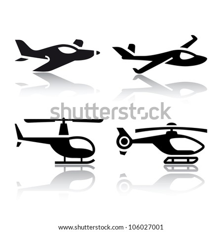 Set of transport icons - airplane and helicopter. Eps version also available in my image gallery - stock photo