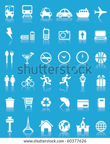 Set of 36 travel icons - stock photo
