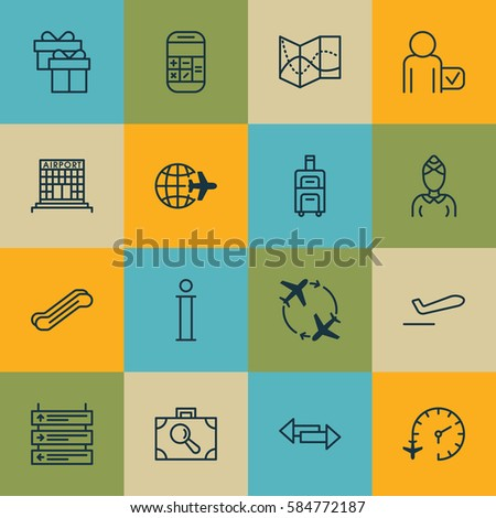 Set 16 Travel Icons Includes Hostess Stock Illustration 584772187
