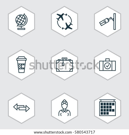 Set 9 Traveling Icons Includes Hostess Stock Illustration 580543717