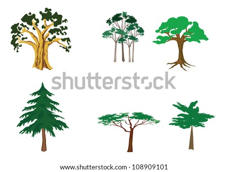 Set of tree - stock photo