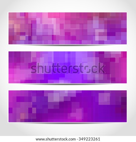Set of trendy purple banners template or website headers with abstract geometric background