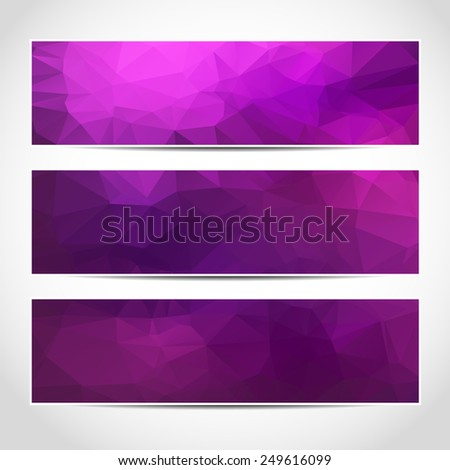 Set of trendy purple banners template or website headers with abstract geometric background. Design illustration - stock photo