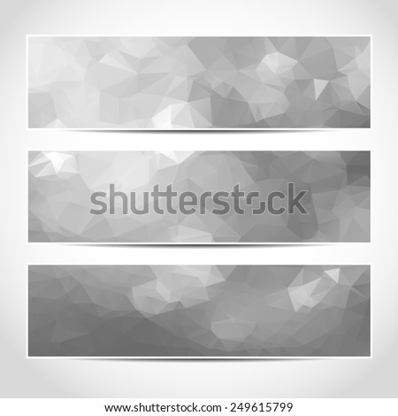 Set of trendy silver banners template or website headers with abstract geometric background. Design illustration - stock photo