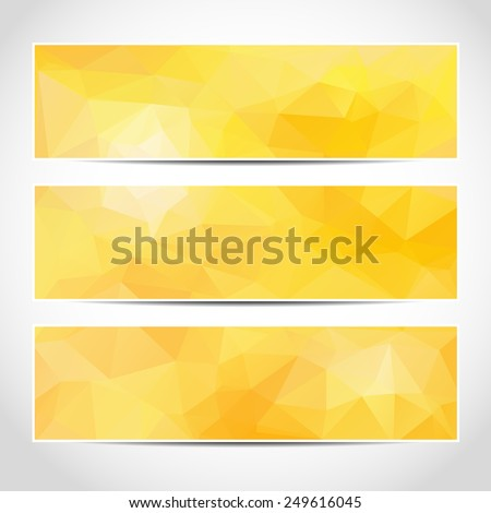 Set of trendy yellow sunny banners template or website headers with abstract geometric background. Design illustration - stock photo