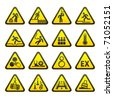 Set of Triangular Warning Hazard  Signs. Bitmap copy my vector ID 61224109 - stock photo