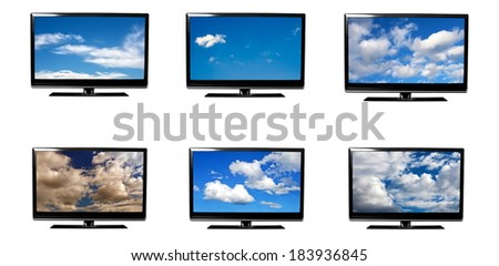 set of  tv's with sky  - stock photo