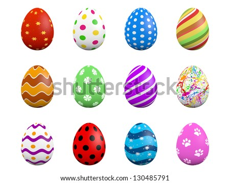Set of twelve easter eggs isolated on white (3D render) - stock photo