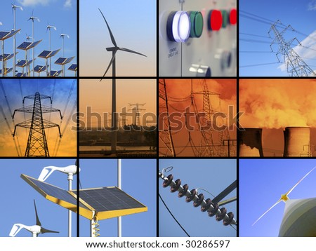 Set of twelve images relating to electricity - stock photo