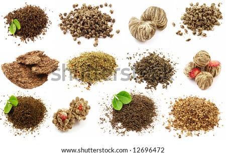 Set of twelve unique kinds of tea isolated - stock photo